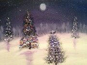 11 x 14 oil  Christmas lights *