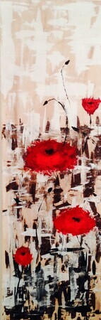 Lest We Forget  12 x 36 acrylic palette knife    sold