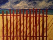 Beach snow fence 11 x14 oil $175