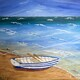 Beached row boat 24 x 24 acrylic $450 framed