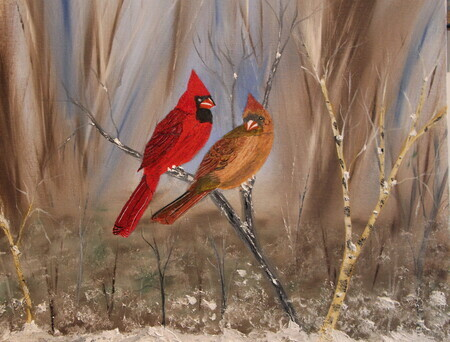 Cardinal Couple 16 x 20 mixed medium $250*