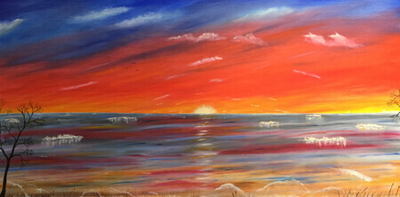 Colors in the sky 24 x 48 oil on Wood $600