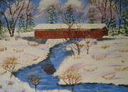 Covered  Bridge in Winter 11 x 14 $200