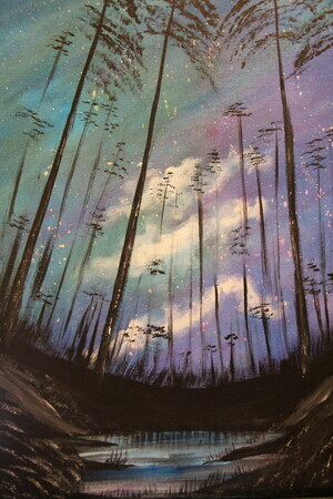 Evening Pines lesson 16 x 20 acrylic $250