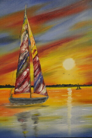 Extremely colorful sunset sail  24 x 24 oil $400