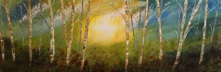 Fall Birch 12 x36 oil $300