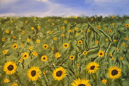 Field of Sunflowers 16 x20 on wood *