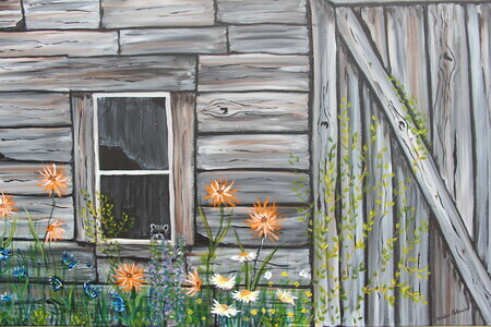 Flowers on the Barn Wall 24 x 36 Acrylic $450
