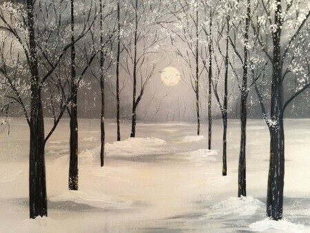 Fresh snow in the forest 24 x36 acrylic *