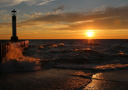 Grand Bend sunset pier 24 x 36 Framed  $250 16x20 matted $70