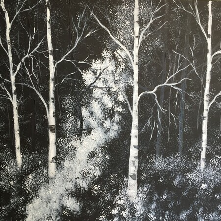 Into the Woods 24 x 24 acrylic $275