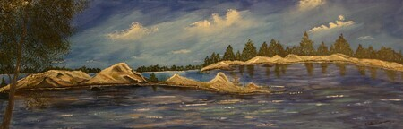 Lake Wahwashkesh 12 x 36 wrapped acrylic sold