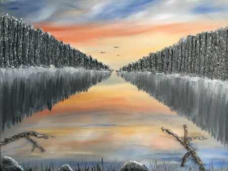 Morning on the Inland Lake 24 x 30 on Wood $300