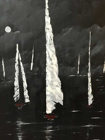 Night Sail 24 x 36 acrylic $300