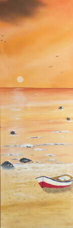 Orange sunset 12 x 36 oil $300