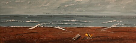 Preparing for the evening campfire 12 x 36 acrylic $400