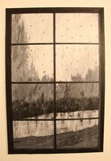 Raindrops on Window 24 x 36 acrylic