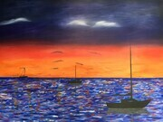 Sailboats at evening sunset 32 x 48 mixed media on wood $450