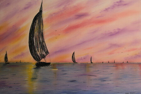 Silhouette Sails 24 x 36 oil $400