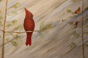 Snowy Cardinal 24 x 36 acrylic wrapped canvas Sold