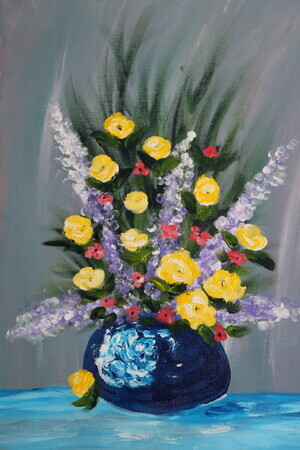 Summer flowers 16x20 acrylic finger paint lesson $400