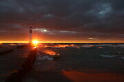 Sunset over Grand Bend pier 16x24 framed $130