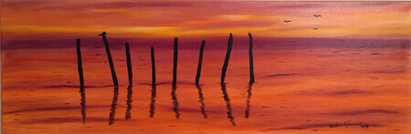 Sunset poles 12 x 36 oil $350
