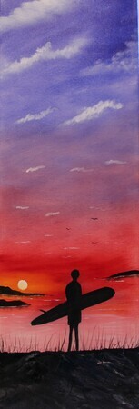 Sunset Surfer 12 x 36  oil wrapped canvas sold