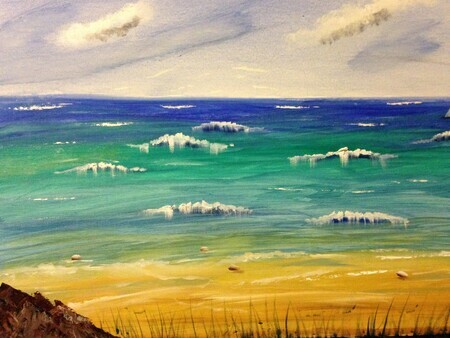 Turquoise Water  16 x 20 Water Mixable oil  sold