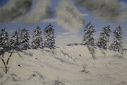 Winter Pines  16 x 20 mixed medium $200